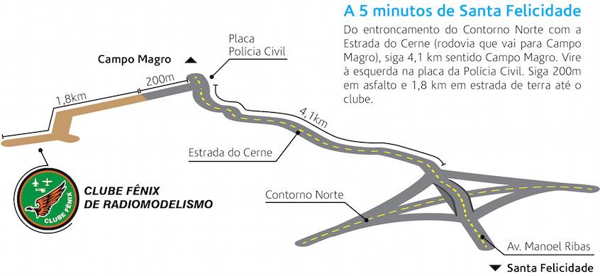 Mapa de como chegar no Clube Fenix
